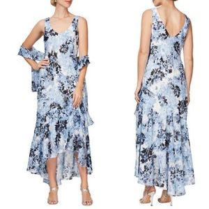 New Alex Evenings Tea Length Printed Chiffon Dress